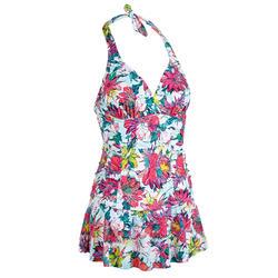 女款連身繞頸綁帶式泳衣SARA-吻痕印花款