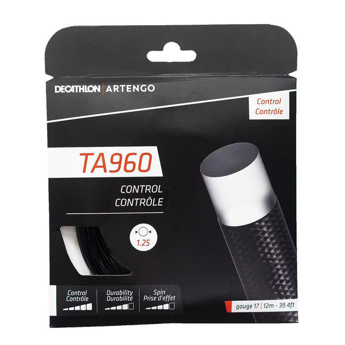 CORDAGE DE TENNIS MONOFILAMENT TA 960 Control 1.25 mm NOIR.