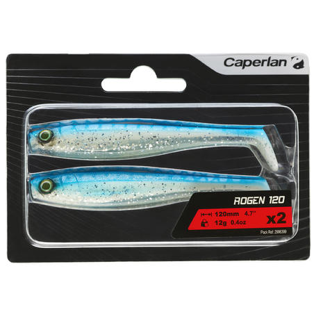 SOFT LURE FISHING LURE ROGEN 120 BLUE X2