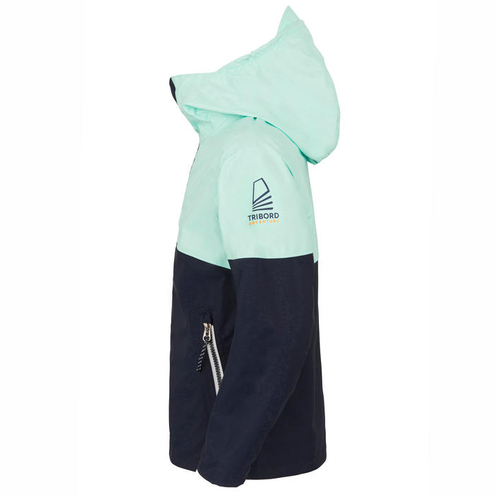 Veste de voile imperméable SAILING 100 Enfant Navy menthe