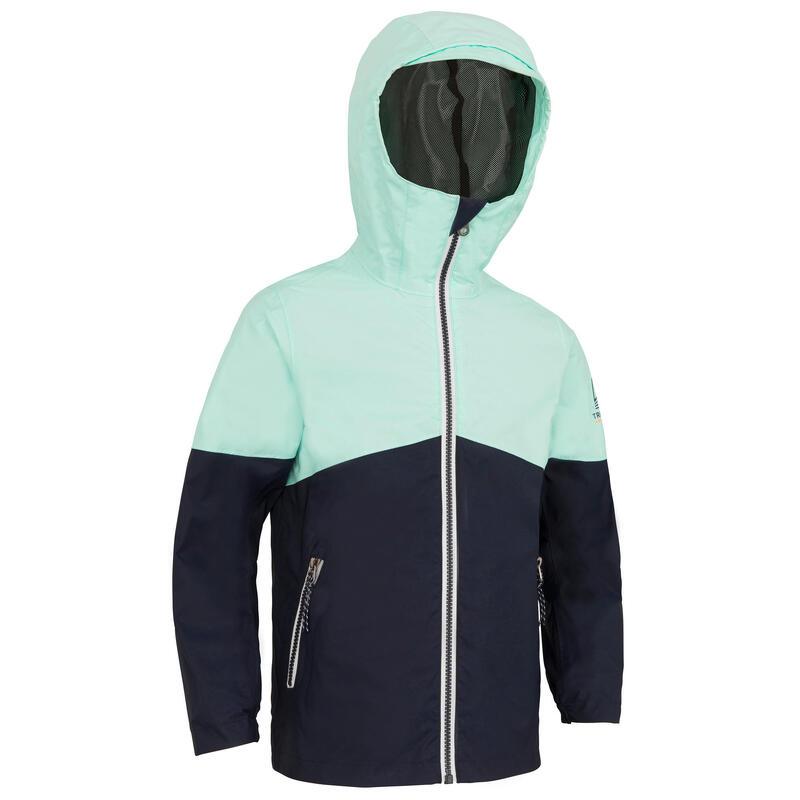Veste imperméable de voile - veste de pluie SAILING 100 Enfant Navy menthe