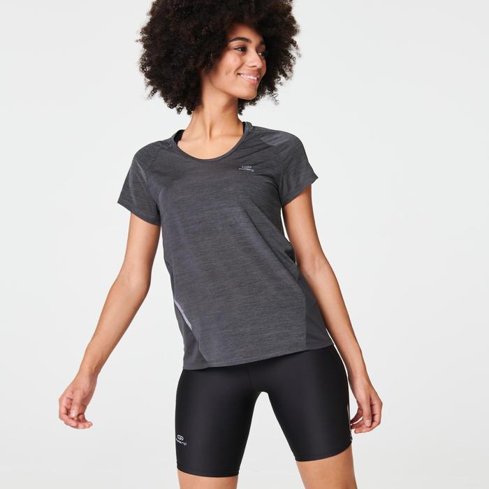 女款跑步T恤RUN LIGHT - 碳灰色