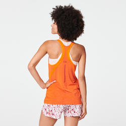 Camiseta Tirantes Running Kalenji Run Light Mujer Naranja