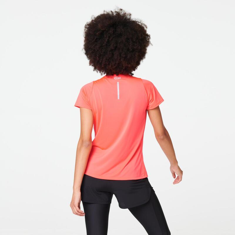RUN DRY WOMEN'S JOGGING T-SHIRT - CORAL