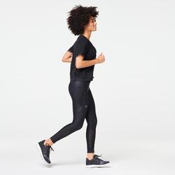 女款慢跑緊身褲RUN DRY+ FEEL - 黑色