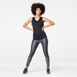 女款跑步緊身褲RUN DRY + FEEL - 灰色