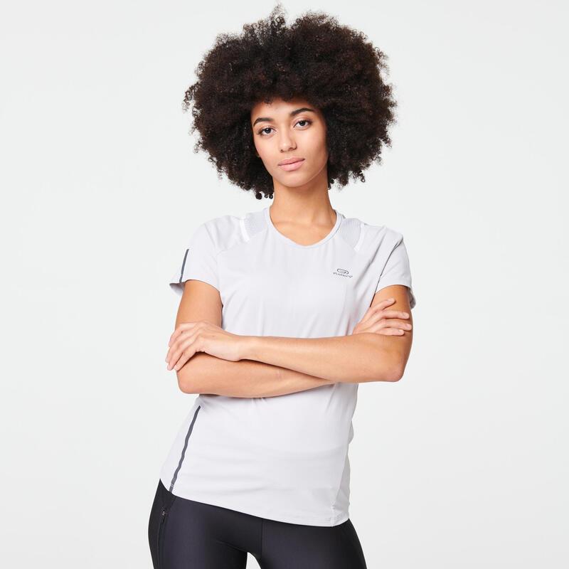 T-SHIRT JOGGING FEMME RUN DRY+ GRIS CLAIR
