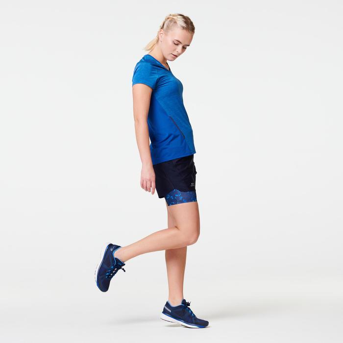 女款跑步短褲 搭配內襯緊身短褲RUN DRY + - 深藍色