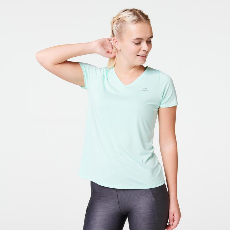 Hardloop-T-shirt voor dames Run Dry pastelgroen