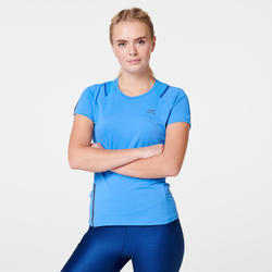Camiseta Manga Corta Running Kalenji Run Dry+ Mujer Azul