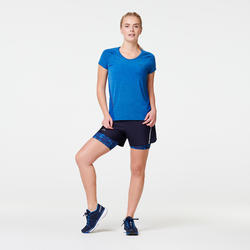 RUN DRY + WOMEN'S SHORTS BUILT-IN TIGHT SHORTS - DARK BLUE