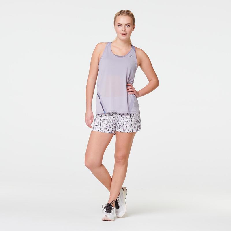 RUN DRY WOMEN'S RUNNING SHORTS - GREY/LAVENDER PRINT