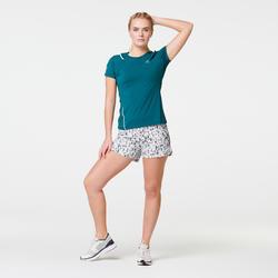 Camiseta Manga Corta Running Kalenji Run Dry+ Mujer Turquesa