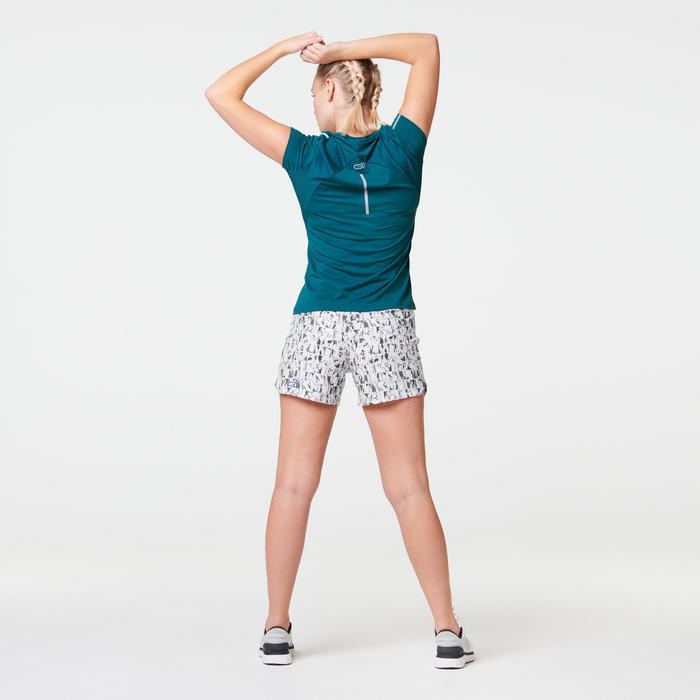 TEE SHIRT RUNNING RUN DRY+ TURQUOISE PROFOND FEMME