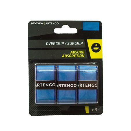 Absorbent Tennis Overgrip Tri-Pack - Blue