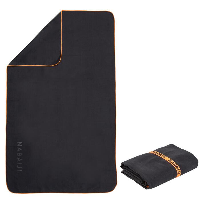Compacte microvezel handdoek grijs maat L 80 x 130 cm