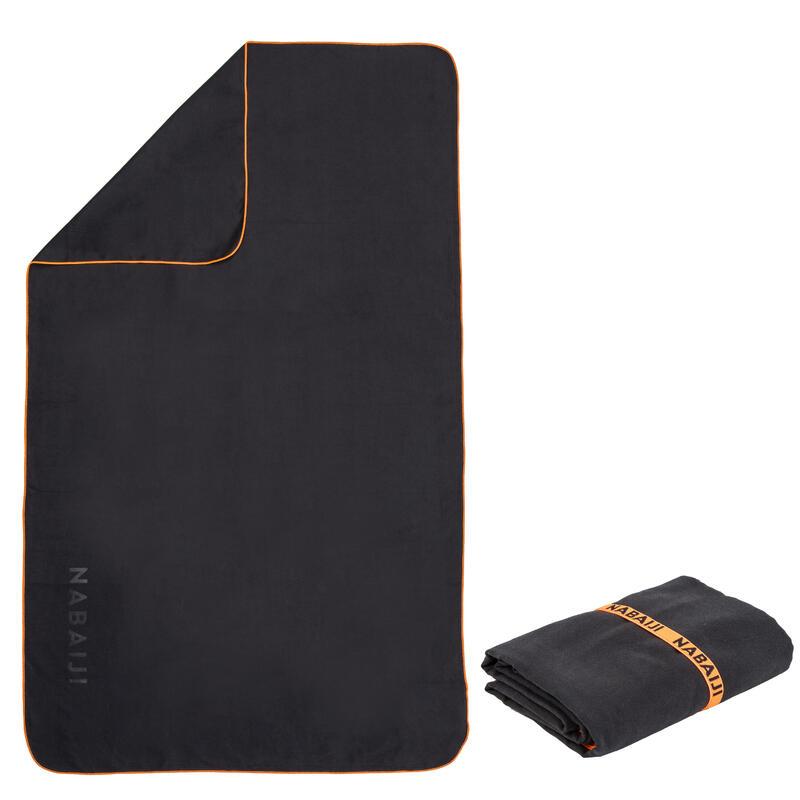Microvezel handdoek donkergrijs maat L 80 x 130 cm