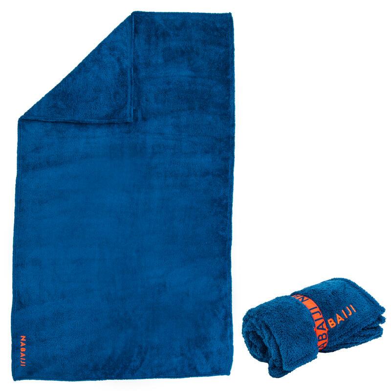 Superzachte microvezel handdoek blauw maat L 80 x 130 cm