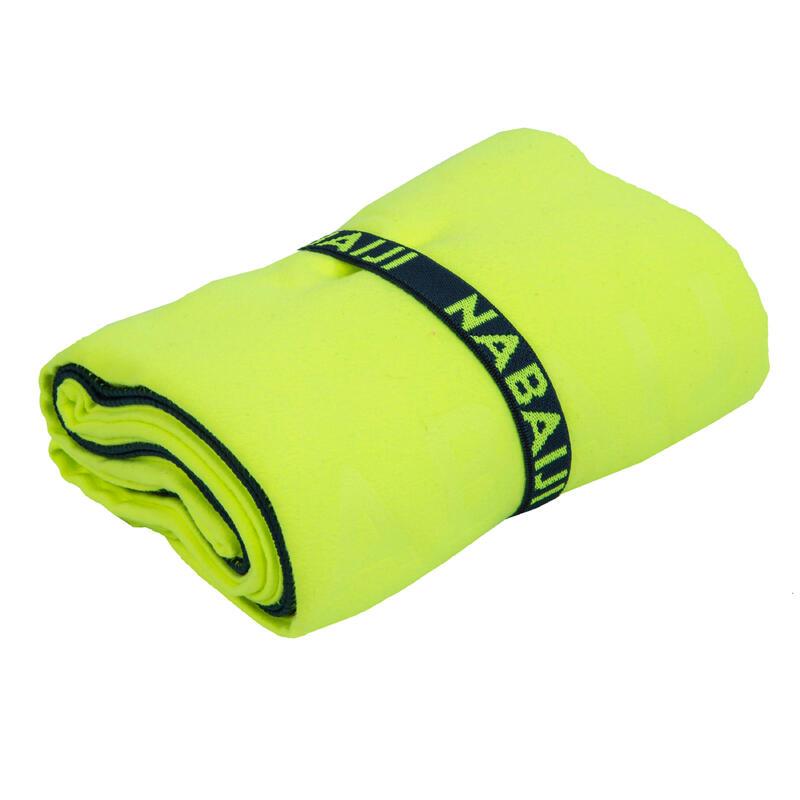 Serviette de bain microfibre jaune fluo taille XL 110 x 175 cm