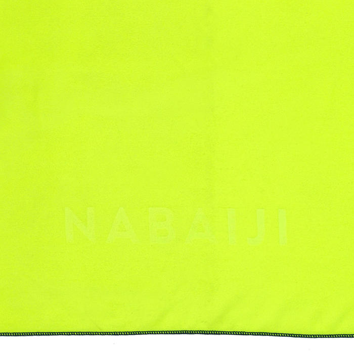 Serviette de bain microfibre jaune fluo taille L 80 x 130 cm