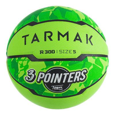 Ballon de basket enfant R300 taille 5 vert jusqu'à 10 ans pour débuter.
