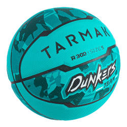 Ballon de basket enfant R300 taille 5 Turquoise jusqu'à 10 ans pour débuter.