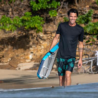 Playera Protección Solar Surf Hombre Olaian Negro Manga Corta