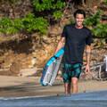 MEN SOLAR PROTECTION WEAR Surfing a bodyboard - TRIČKO WATER UV SS BLACK OLAIAN - Plavky a trička s UV ochranou