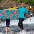 DÁMSKÉ OBLEČENÍ NA OCHRANU PŘED SLUNCEM Surfing a bodyboard - DÁMSKÉ LEGÍNY UV 100L ČERNÉ OLAIAN - Plavky a trička s UV ochranou