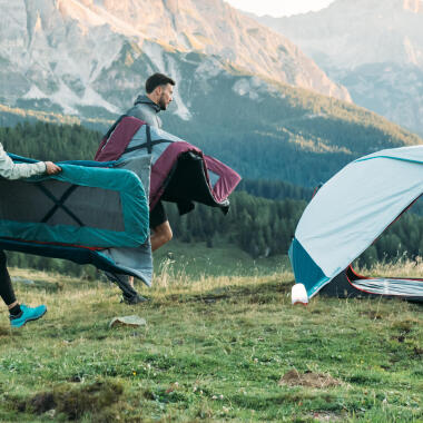 camping with tent chair table in campsite checklist - DECATHLON