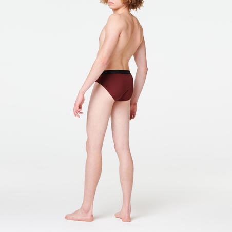 MEN'S BREATHABLE RUNNING BRIEFS - BURGUNDY