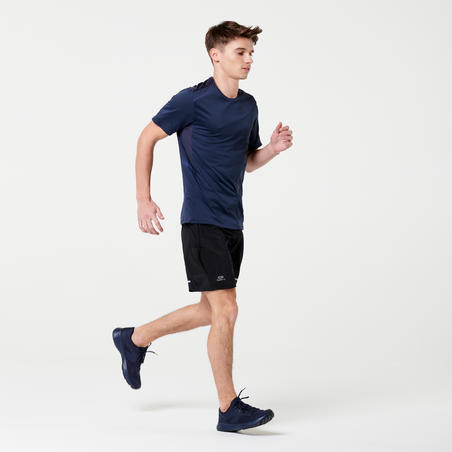 TEE SHIRT RUNNING RUN DRY + GRIS MARINE HOMME