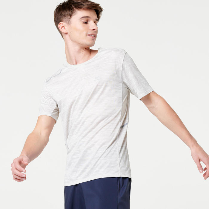 TEE SHIRT RUNNING HOMME RUN DRY + BEIGE chiné