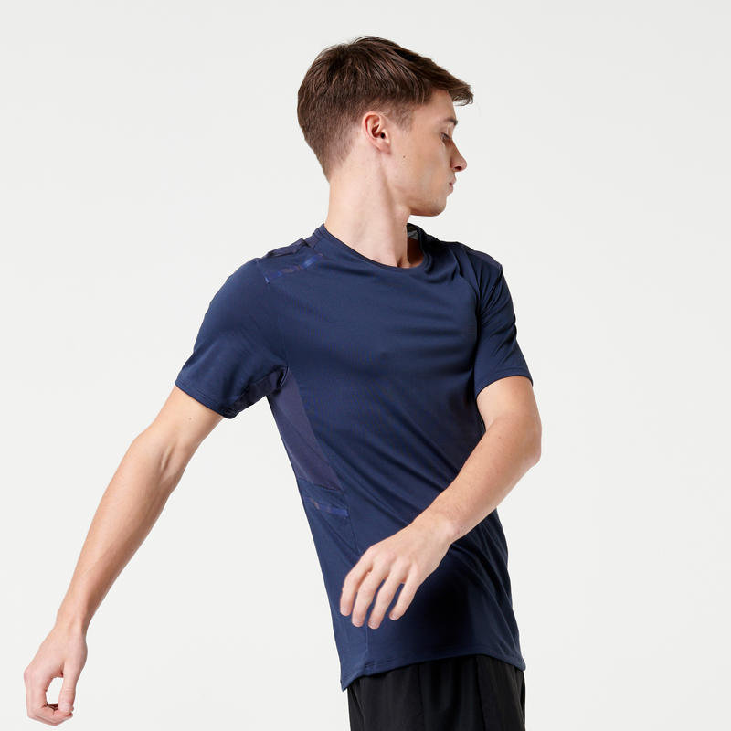 RUN DRY+ MEN'S RUNNING T-SHIRT - DARK BLUE