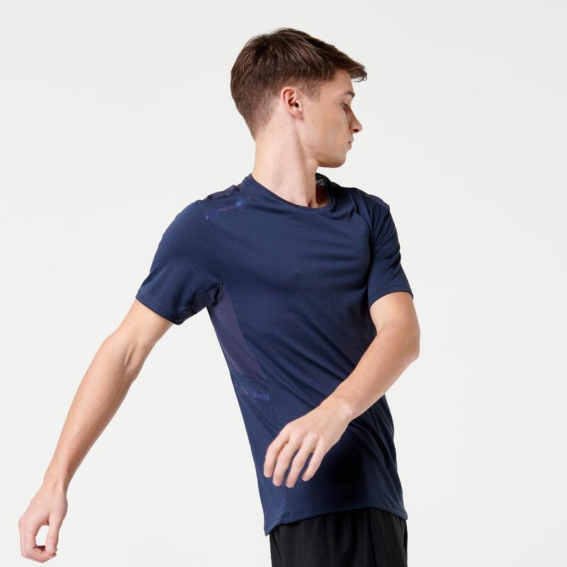 Hardloop T-shirt voor heren Run Dry+ grijs/marineblauw