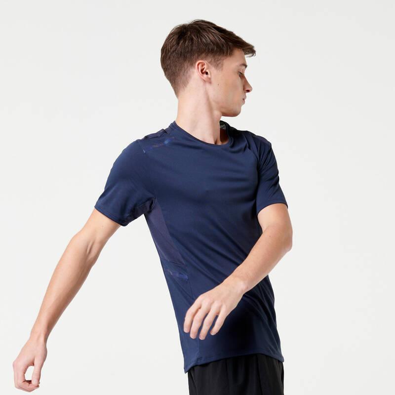 PÁNSKÉ OBLEČENÍ NA JOGGING DO TEPLÉHO POČASÍ Běh - TRIČKO DRY+ MODRÉ  KALENJI - Běžecké oblečení
