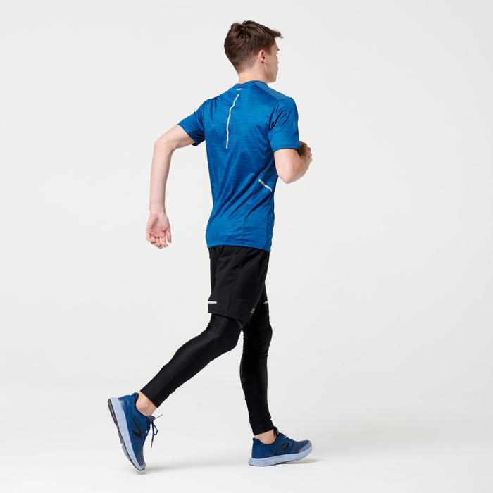T-shirt hardlopen heren Run Dry+ petrolblauw