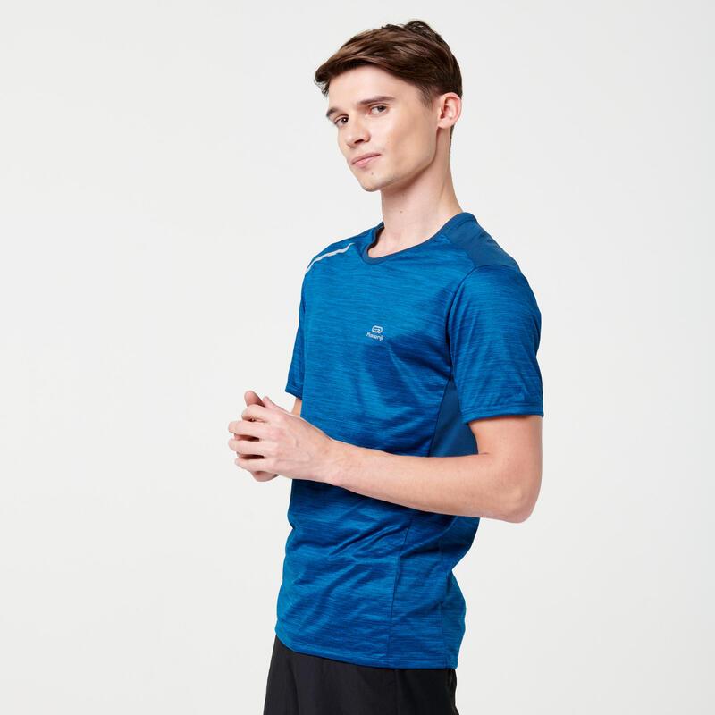 Ademend T-shirt voor hardlopen heren Dry+ Pruisisch blauw
