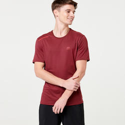 Ademend T-shirt voor hardlopen heren Dry+ bordeaux