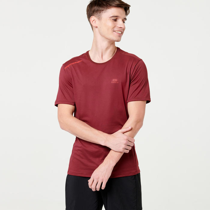 TEE SHIRT RUNNING HOMME RUN DRY + BORDEAUX