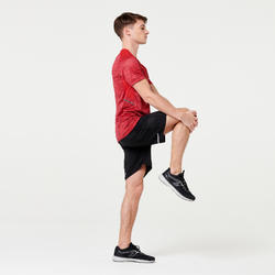 TEE SHIRT RUNNING HOMME RUN DRY + ROUGE chiné