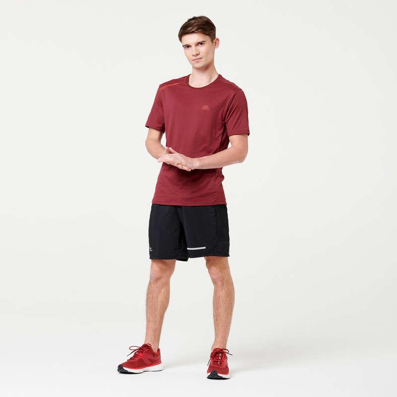 PÁNSKÉ PRODYŠNÉ OBLEČENÍ NA JOGGING Běh - BĚŽECKÉ TRIČKO RUN DRY+ VÍNOVÉ KALENJI - Běžecké oblečení