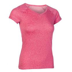 女款修身剪裁溫和健身與皮拉提斯T恤500 - 粉色