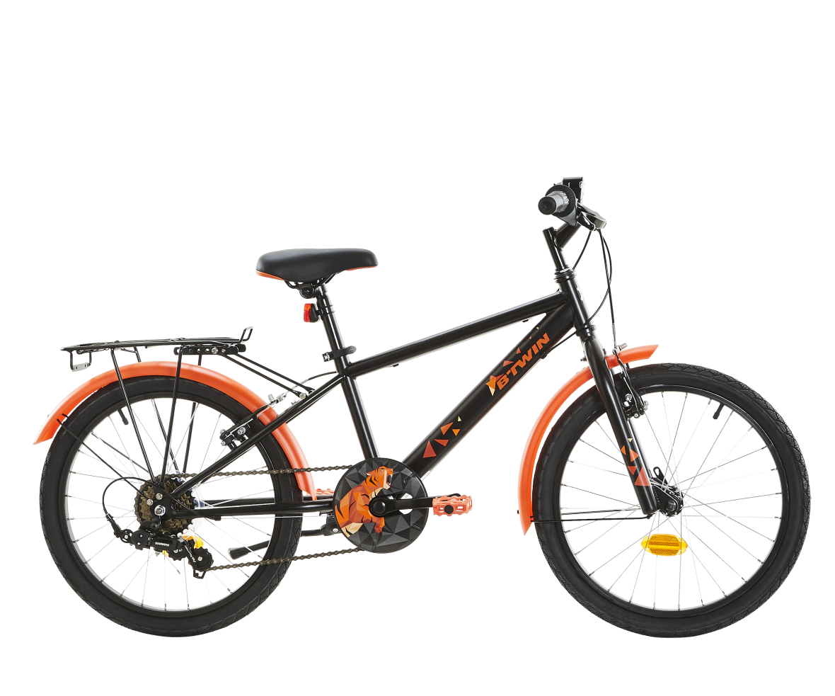 Hybrid-bike-black-orange-decathlon