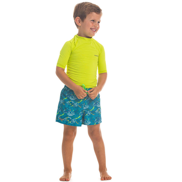 兒童款衝浪褲100-淺碧藍色