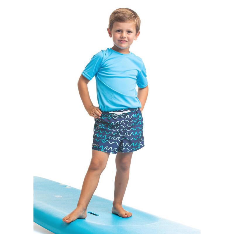 Bañador Niño Surf Corto Olaian 100 Origami Azul