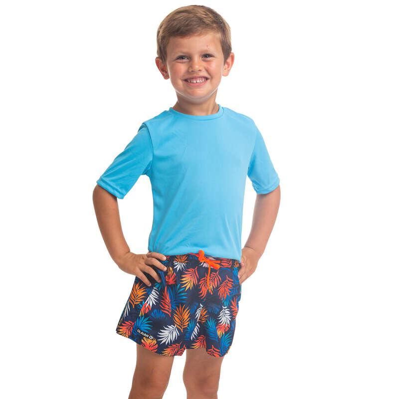 UV-TOPPAR, VÅTDRÄKTSTRÖJOR VARMT VATTEN Vattensport och Strandsport - Rashguard UV-skydd Junior blå OLAIAN - UV-Kläder, Rashguard och Solskydd