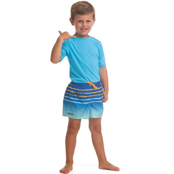 兒童款衝浪褲100-條紋款藍色