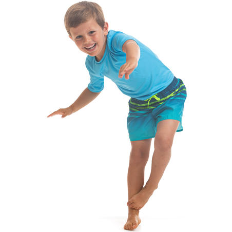 Kids' swim shorts 100 - striped turquoise