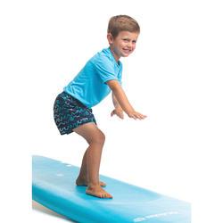 兒童款衝浪褲100-摺浪款藍色